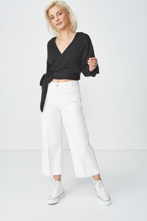 Mia Wrap Top, BLACK SATIN