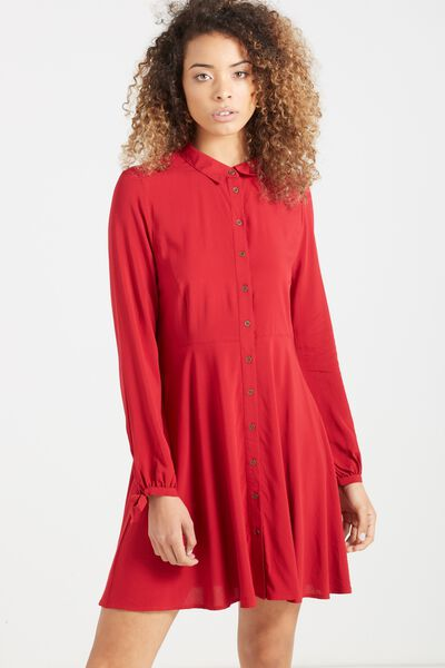Woven Libby Long Sleeve Soft Shirt Dress, RUBY RED