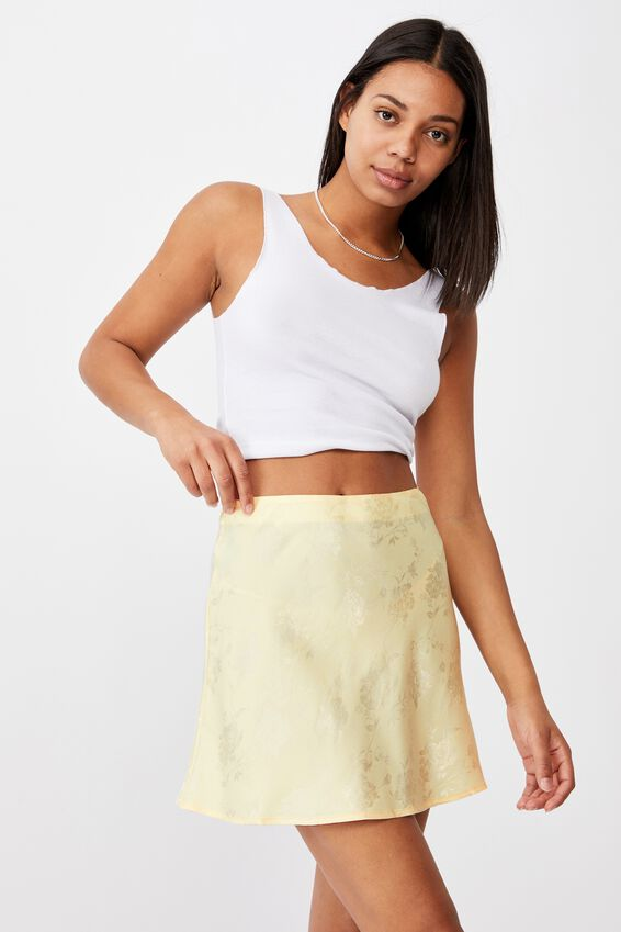 Simple Slip Mini Skirt, PASTEL YELLOW FLORAL JACQUARD