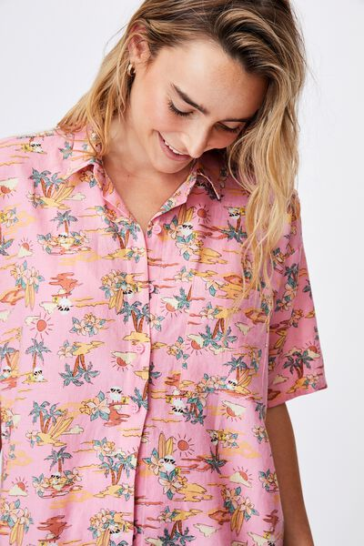 Irvins Short Sleeve Shirt, LCN IRV IRVINS TOILE CANDY