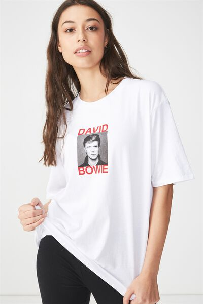 The Graphic Boyfriend Tee, LCN BOWIE PORTRAIT/WHITE