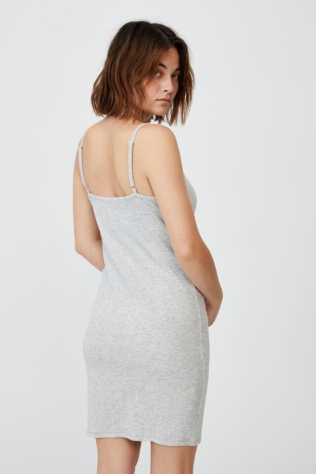 Finn Straight Neck Strappy Mini Dress, LIGHT GREY MARLE