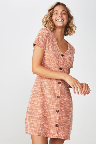 Marlow Button Through Mini Dress, BURNT ORCHRE TWIST