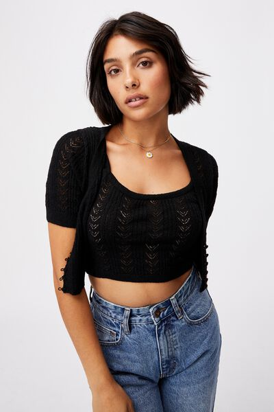 Partners In Pointelle Crop Cardi, BLACK