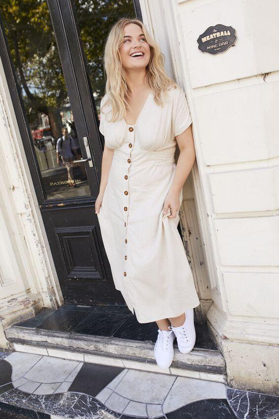 Curve Button Front Midi Dress, LATTE MARLE