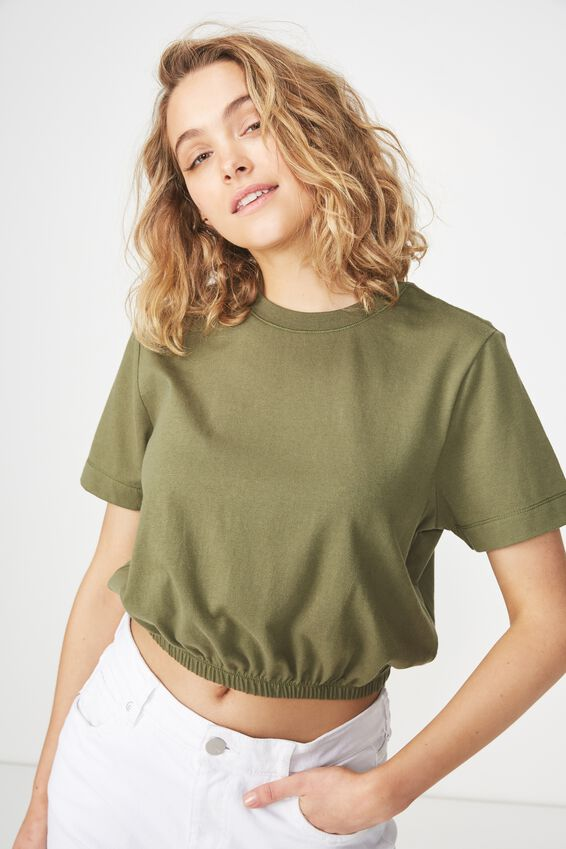 Ivy Short Sleeve Waisted Top, SOFT KHAKI