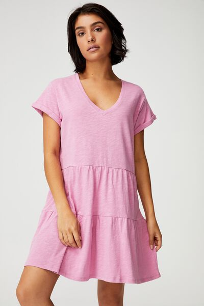 Ritchie Tiered Tunic Mini Dress, PINK MAUVE