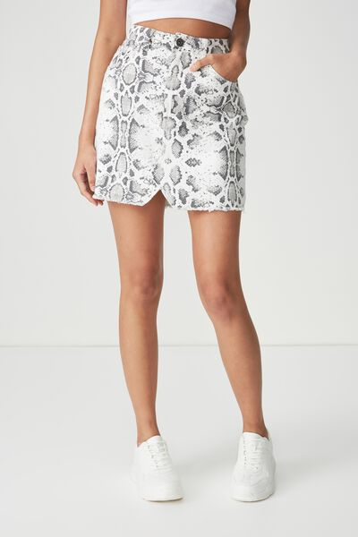 The Re-Made Mini Denim Skirt, BECCA SNAKE