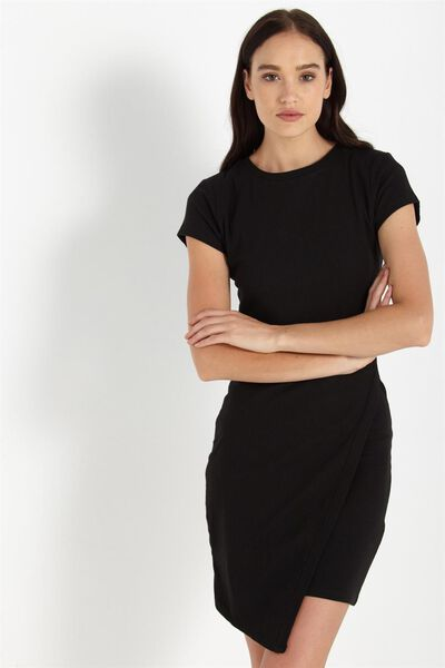 Jojo Cap Sleeve Midi Wrap Dress, BLACK RIB
