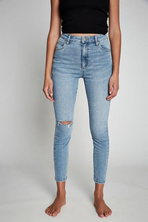 High Rise Cropped Skinny Jean, BRIGHTON BLUE RIP