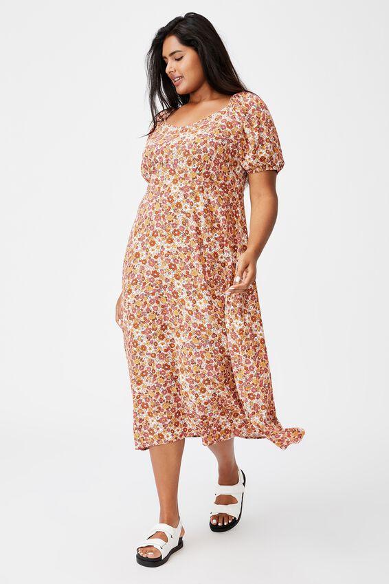 Curve Mary Midi Dress, WINDSOME DITSY DUSK BLUSH