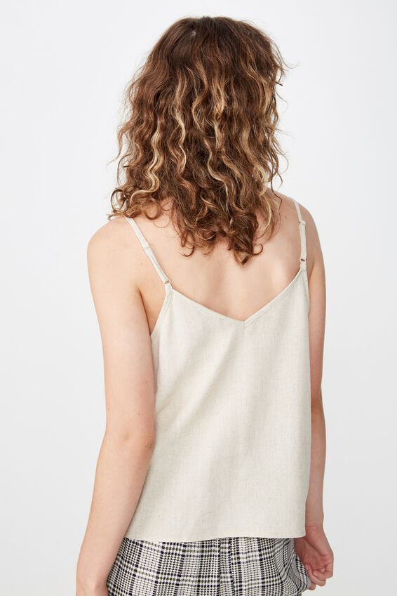 Allie Button Front Cami, LATTE MARLE