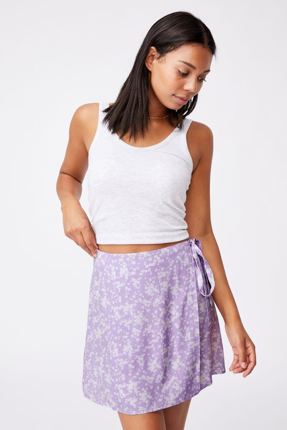 Drew Wrap Mini Skirt, LENA DITSY POWDER LILAC