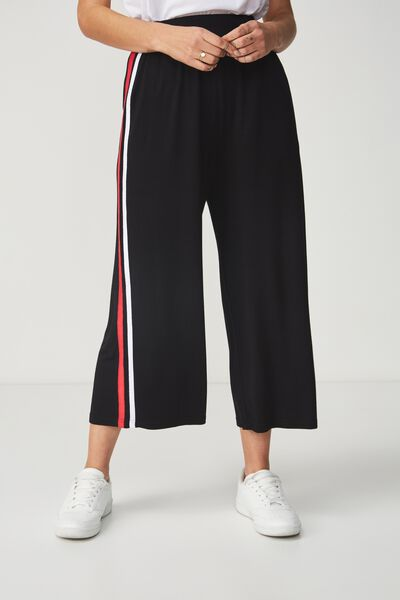 Lauren Drapey Culotte, BLACK/WHITE/RED SIDE STRIPE