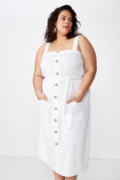 Curve Linen Patch Pocket Dress, WHITE