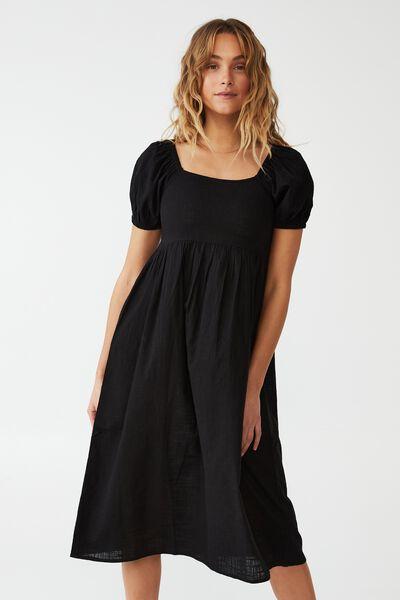 Woven Petite Mariah Midi Dress, BLACK