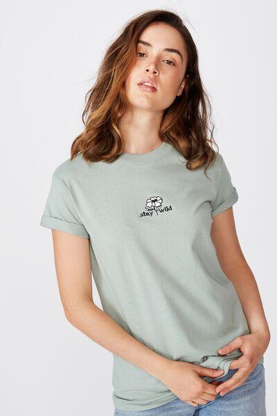 Classic Slogan T Shirt, STAY WILD/JADE