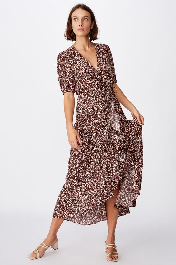 Woven Ri Ruffle Wrap Maxi Dress, BRONTE DITSY CANYON SUNSET