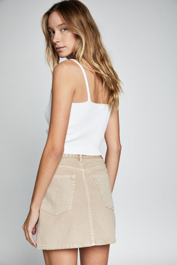 The Classic Denim Skirt, CINNAMON