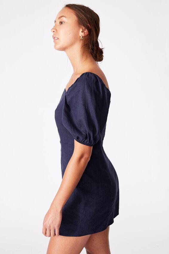 Woven Leona Bell Sleeve Mini Dress, MEDIEVAL BLUE