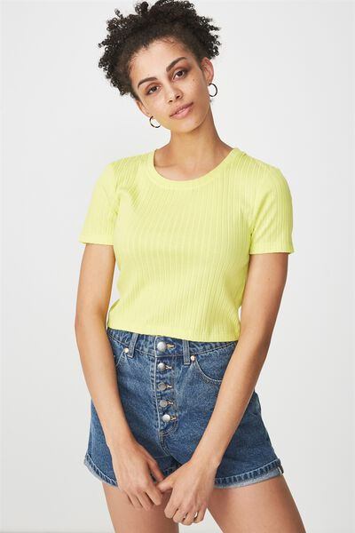 Beth Close To The Body Rib Top, LIMEADE