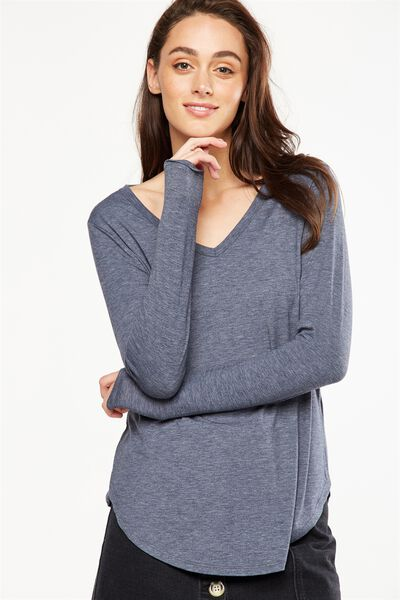 Karly Long Sleeve Top, DEEPEST NAVY MARLE