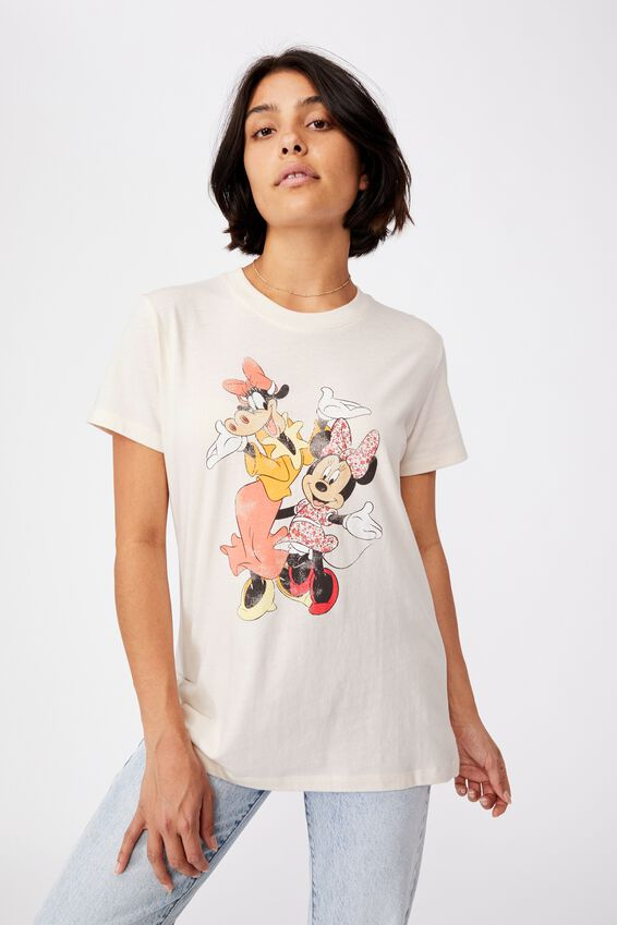Classic Cny Graphic License T Shirt, LCN DIS MINNIE & CLARABELLE/WHITE SAND