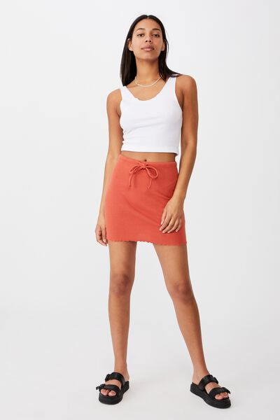 Streamline Ribbed Mini Skirt, RED CLAY