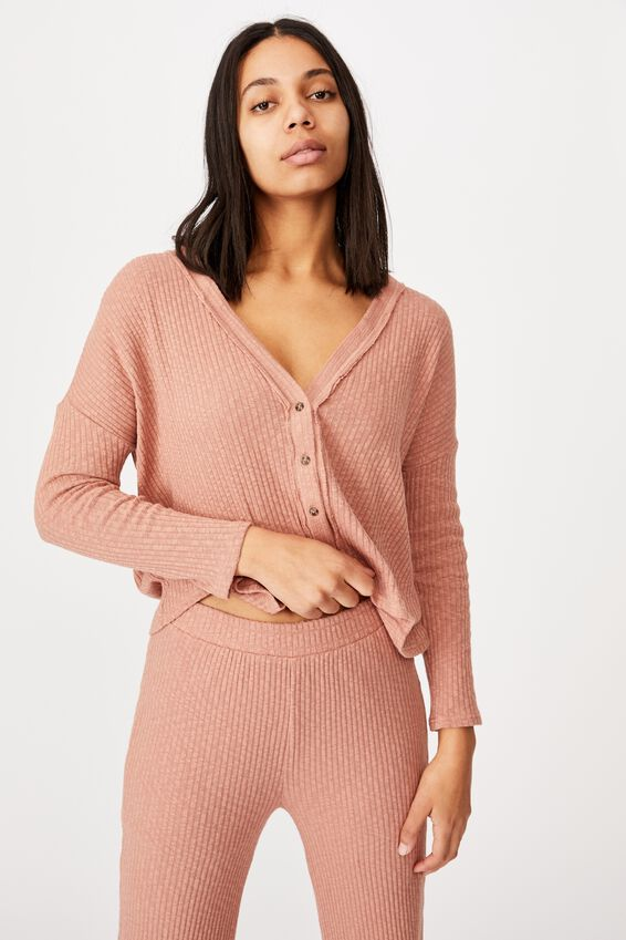 Gigi Long Sleeve Cardigan, OLD ROSE