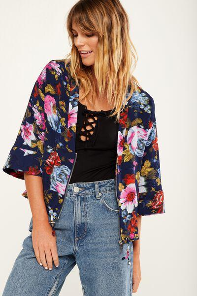 Demi Kimono Bomber Jacket, ROSALIND TWILIGHT BLUE