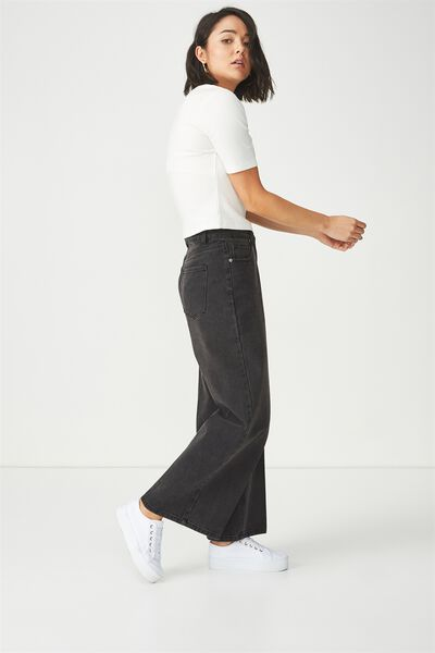 High Rise Wide Leg Jean, WASHED BLACK PRESS