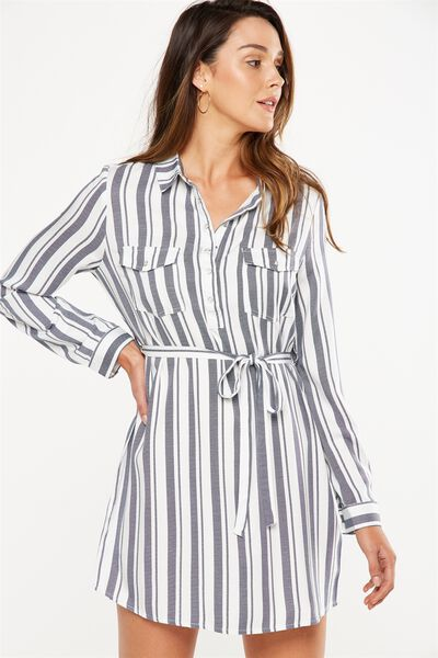 Woven Tammy Long Sleeve Shirt Dress, CHLOE STRIPE NAVY