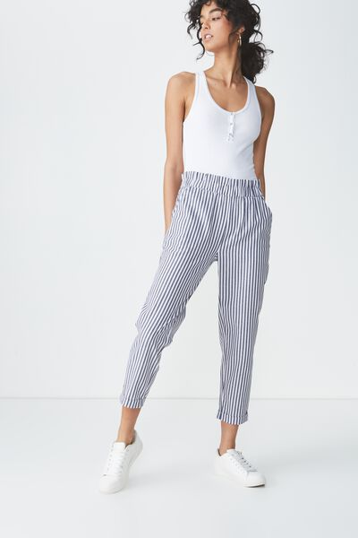 Abigaile High Waist Paperbag Pant, BEKA STRIPE WHITE/BLACK