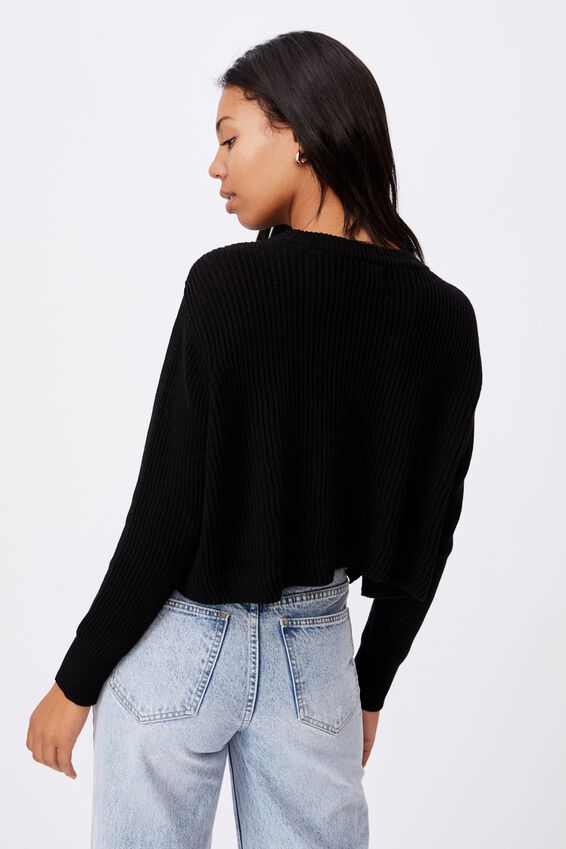Cotton Archy Cropped Pullover, BLACK