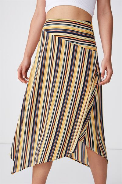 Woven Amy Assymetric Hem Midi Skirt, ASH STRIPE YELLOW