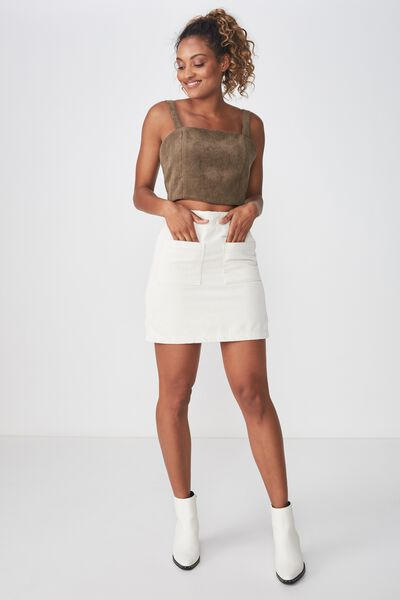 A Line Pocket Front Cord Mini Skirt, SNOW WHITE