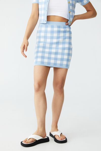 Wear Ever Intarsia Mini Skirt, SOPHIE CHECKERBOARD BELLE BLUE WHITE