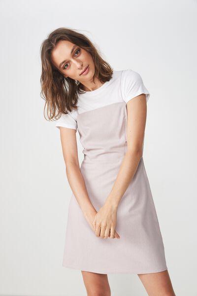 Woven Krissy Dress, CLOUD GREY- L