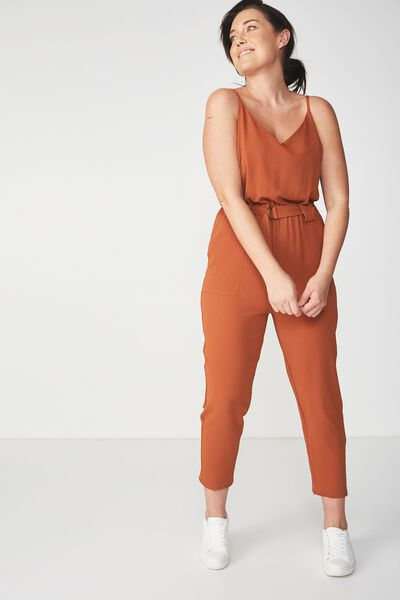 Woven Strappy Jackie Jumpsuit, GINGERBREAD