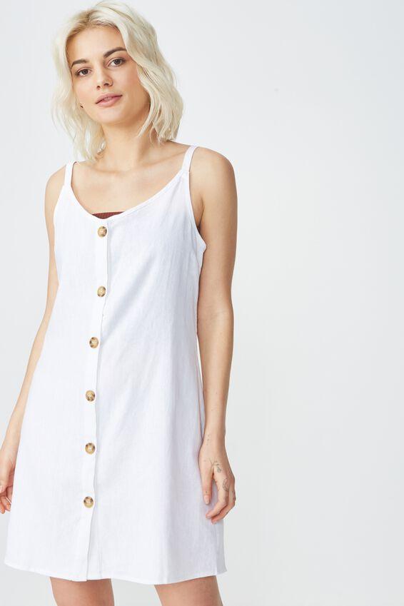 Woven Margot Slip Dress, BUTTON THROUGH WHITE