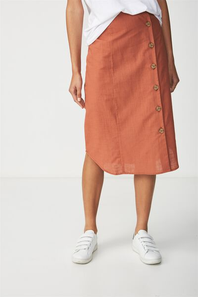 Woven Kelly Side Button Midi Skirt, COPPER BROWN