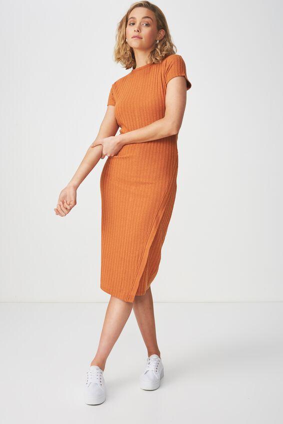 Anthea Short Sleeve Midi Dress, AMBER BROWN RIB TWIST