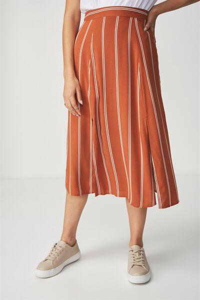 Woven Julia Split Midi Skirt, LOLA STRIPE GINGERBREAD WITH WHITE