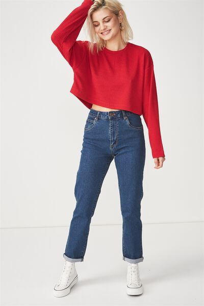 Bronte Textured Crop Long Sleeve Top, JESTER RED