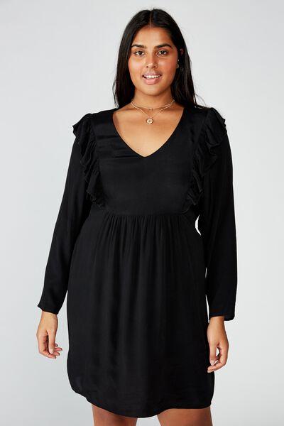 Curve Britt Babydoll Mini Dress, BLACK