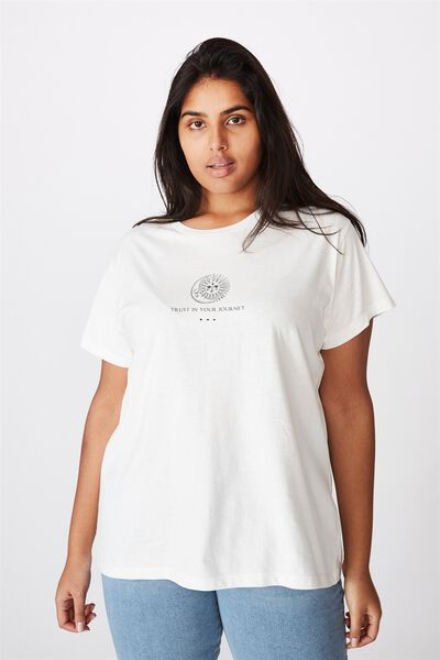 Curve Graphic Tee, TRUST YOUR JOURNEY/GARDENIA