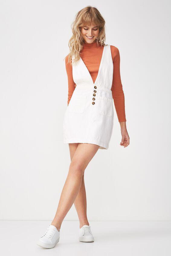 Denim Deep V Pinafore Dress, GARDENIA