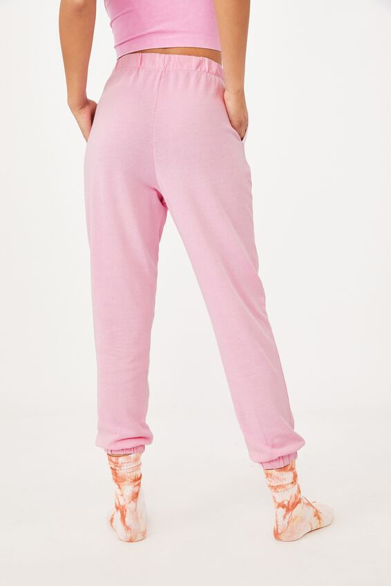 High Waisted Trackpant, SPRING LILAC GARMENT PIGMENT DYE
