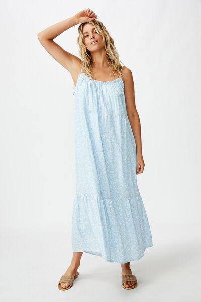 Woven Serena Straight Neck Midi Dress, BLAIR FLORAL PAISLEY CERULEAN WHITE