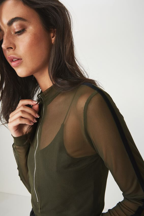 Mesh Long Sleeve Zipper Bodysuit, UTILITY KHAKI/BLACK
